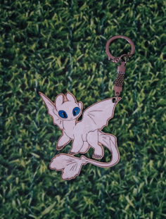 Laser Cut Toothless Nightfury White Fury Keychain Free CDR Vectors Art