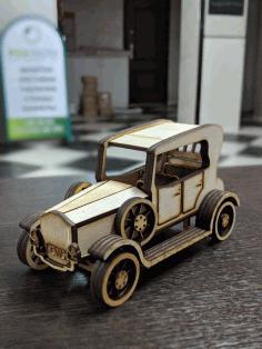 Laser Cut Vintage Wooden Classic Car Vehicle Free CDR Vectors Art