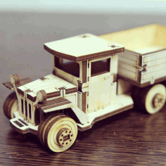 Laser Cut Wooden Truck Toy Vehicle Free CDR Vectors Art