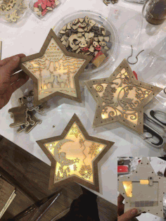 Christmas Decoration Nightlight Star Laser Cut Template Free CDR Vectors Art
