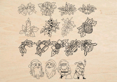 Christmas Decorations Santa Flowers Laser Engraving Free CDR Vectors Art