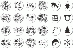 Christmas Stickers Set Free CDR Vectors Art