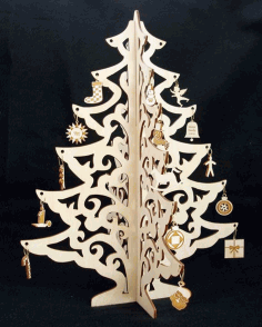 Christmas Tree Jewelry Didplay Wood Crafts Laser Cut Free CDR Vectors Art