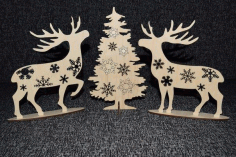 Deer At Christmas Tree Laser Cutting Plans Cnc File Free CDR Vectors Art