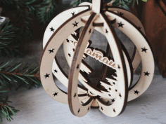 Laser Cut Birch Pendant Christmas Tree Hanging Wooden Decorations Free CDR Vectors Art