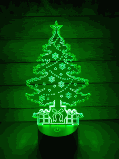 Christmas Tree 3d Illusion Lamp Laser Cutting Template Free DXF File