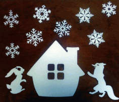 Laser Cut Christmas Elements Design Hare Fox Snow Flakes Free CDR Vectors Art