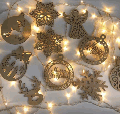 Laser Cut Christmas Hanging Pendants Drop Ornaments Free CDR Vectors Art