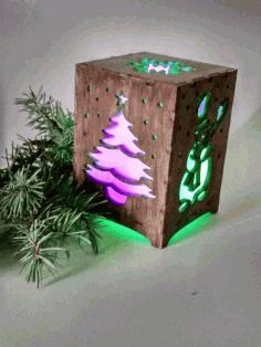 Laser Cut Christmas Night Light Box Lamp Template Free CDR Vectors Art