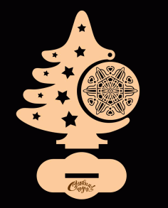 Laser Cut Christmas Tree With Ornament Free CDR Vectors Art