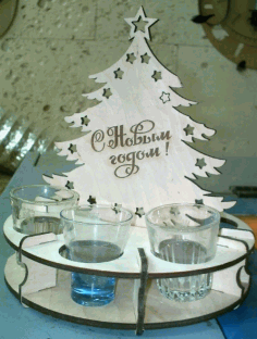 Laser Cut Christmas Tree With Wineglasses 4mm Free CDR Vectors Art