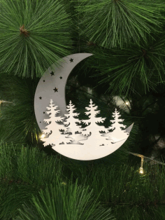 Laser Cut Moon Christmas Decoration Free CDR Vectors Art