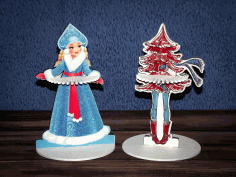 Laser Cut Napkin Holder Snow Maiden Christmas Tree Free CDR Vectors Art