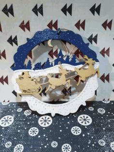 Laser Cut Santa Sleigh And Reindeer Wall Decor Christmas Decoration Free CDR Vectors Art