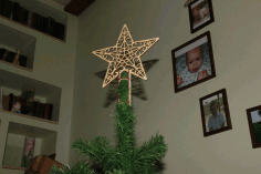 Laser Cut Star On Christmas Tree New Year Free CDR Vectors Art