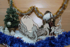 Laser Cut Wood Christmas Sleigh And Reindeer Free CDR Vectors Art