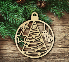Laser Cut Wooden Christmas Hanging Decoration Free CDR Vectors Art