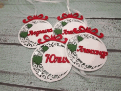 Laser Cut Wooden Personalized Christmas Ornaments Pendants Free CDR Vectors Art