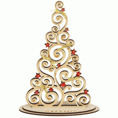 Plywood Christmas Tree On Stand Laser Cut Cnc Template Free CDR Vectors Art