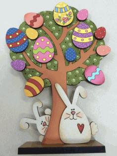 Laser Cut Easter Tree Bunnies Free CDR Vectors Art
