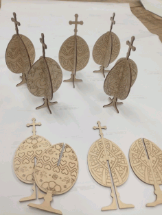 Laser Cut Engraved Cross Easter Eggs Plywood Template Free CDR Vectors Art