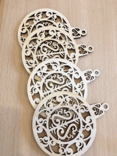 Laser Cut Pendant Plywood Toys For New Year Free CDR Vectors Art