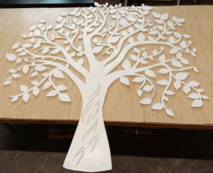Laser Cut Tree Wall Decor Template Free CDR Vectors Art