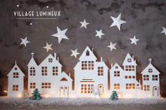 Winter Village Home Decor Laser Cut Idea Free CDR Vectors Art