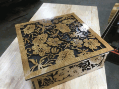 Laser Cut Wood Flower Box Free CDR Vectors Art