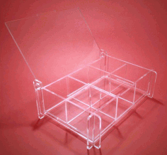 Laser Cut Storage Box With Removable Partitions Made Of Clear Acrylic Free DXF File