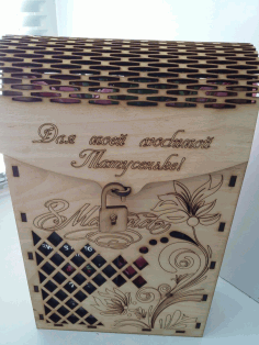 Laser Cut Decorative Wine Box 3mm Plywood Free CDR Vectors Art