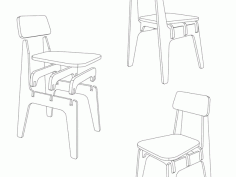 Laser Cut High Chair Wood 18 Mm Free DXF File