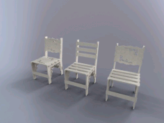 Laser Cutting Wooden White Chair Free DXF File