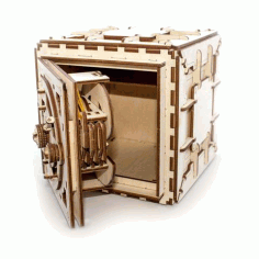 3d Wooden Safe With Working Lock Mechanism – 3d Kit  Puzzle Free CDR Vectors Art