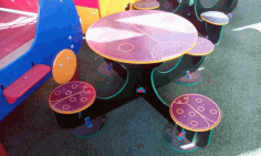 Children Round Table With 4 Chairs Free CDR Vectors Art