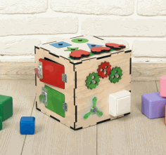 Busy Cube Wooden Toy Free CDR Vectors Art
