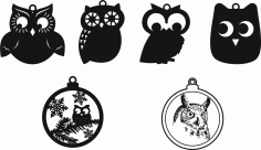 Christmas Tree Owl Decorations Free CDR Vectors Art