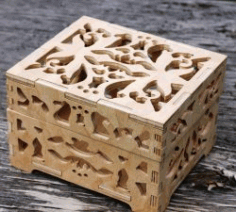 Cnc Laser Cut Thick Wooden Box Free CDR Vectors Art