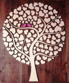 Cnc Laser Cut Tree Of Hearts Free CDR Vectors Art