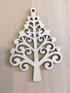 Laser Cut Decorative Tree Plywood Toy For New Year Free CDR Vectors Art
