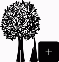 Openwork Tree Plywood Acrylic File For Cnc Laser Machine Decoration On The Wall Free CDR Vectors Art