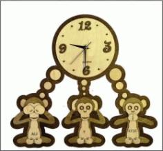 Cnc Laser Cut The Wall Clock Shows Three Monkeys Free CDR Vectors Art
