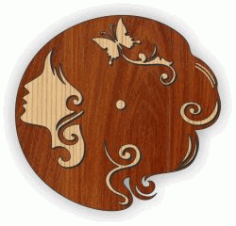 Cnc Laser Cut Young woman's Wall Clock Plasma Free CDR Vectors Art
