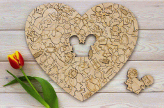 Valentines Day Jigsaw Puzzle Laser Cut Engraving Free CDR Vectors Art