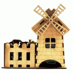 Cnc Laser Cut Tea House And Windmill Free CDR Vectors Art