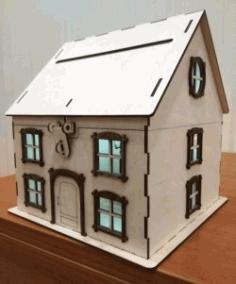 Cnc Laser Cut Wooden House Piggy Bank Free CDR Vectors Art