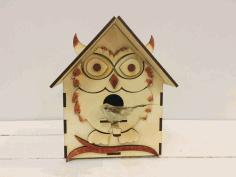 Laser Cut Bird House Shaped Like An Owl Free CDR Vectors Art