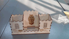 Laser Cut Owl House Organizer Free CDR Vectors Art