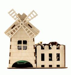 Laser Cut Windmill Tea House Template Free CDR Vectors Art