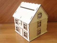 Laser Cut Wooden House Shaped Piggy Bank Free CDR Vectors Art